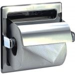 Toilet Tissue Dispenser, Recess Mounted, Single Roll with Hood, Stainless Steel with Satin Finish